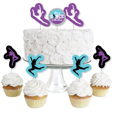 Must Dance to the Beat - Dance - Dessert Cupcake Toppers - Birthday Party or Dance Party Clear Treat Picks - Set of 24 (Party City Beads)