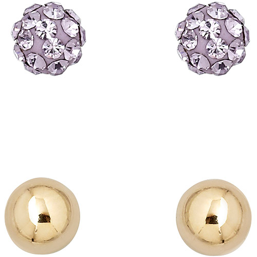Luminesse 18kt Gold over Sterling Silver Plain and Violet Earrings Set made with Swarovski Elements