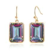 Peermont Emerald Cut Mystic Topaz Drop Earrings in 18K Yellow Gold Overlay