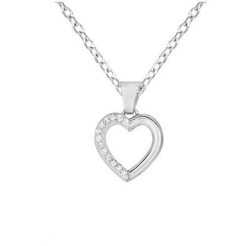 Silver on the Rocks Sterling Silver 13 Crystal Heart Necklaces