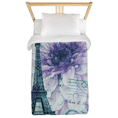 CafePress - Stamps Purple Floral Modern Paris Eiffel Tower Twi - Twin Duvet Cover, Printed Comforter Cover Microfiber ()