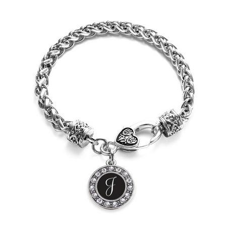 My Script Initials - Letter J Circle Charm Braided Bracelet