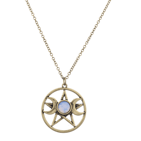 Lux Accessories Burnish Gold Double Crescent Moon Pentagram Blue Opal Necklace ()