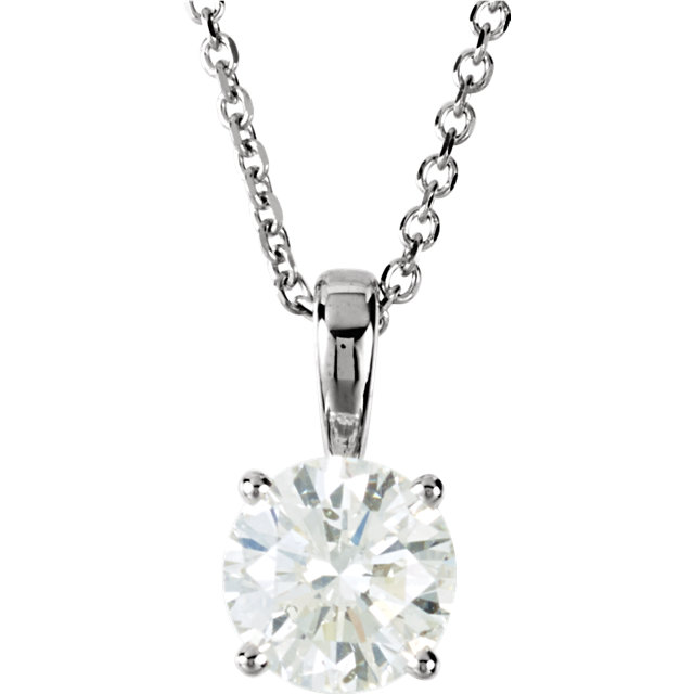 Round Diamond Solitaire Pendant Necklace 14K White Gold ( 1.51 Ct, E , SI2 GIA Certified) by CaratsDirect2U
