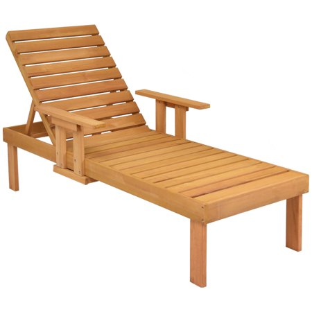 Terrain Beach Lounger (Gymax Patio Chaise Sun Lounger Outdoor Garden Side Tray Deck Chair Beach Chair Wood )