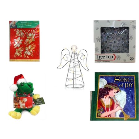 Christmas Fun Gift Bundle [5 Piece] -  Touch of Gold 1-Step Iron-On Foil Poinsettias - 19-Light Snowflake Tree Topper - RadioShack LED Desktop USB-Powered Wire Angel -  Santa Frog  Gift Card Holder - Led Coupons