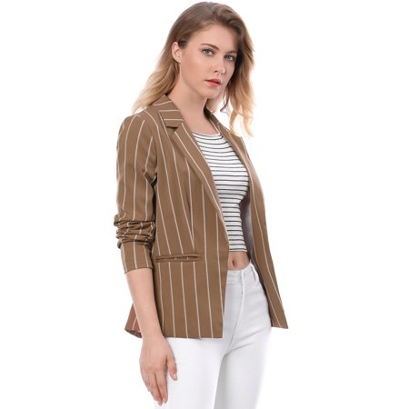 - Women Long Sleeve Notched Lapel Open Front Striped Blazer Brown XS (US 2)