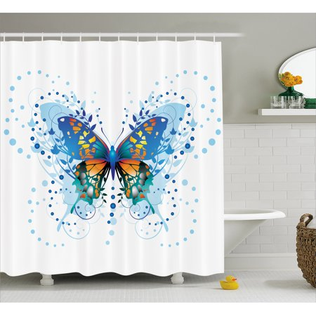 Swallowtail Erfly Shower Curtain Stylized Animal With Twigs Curls And Dots Abstract Art Fabric