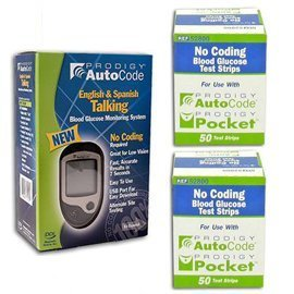 Prodigy Autocode Glucose Meter Kit Combo (Meter Kit and Test Strips 100ct)