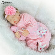 """Spencer 22"""" 55cm Handmade Soft Silicone Vinyl Real Life Reborn Baby Girl Doll Pink Clothes Sleeping Newborn Toy"""