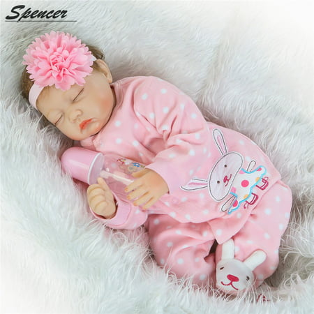 "Spencer 22"" 55cm Handmade Soft Silicone Vinyl Real Life Reborn Baby Girl Doll Pink Clothes Sleeping Newborn Toy"