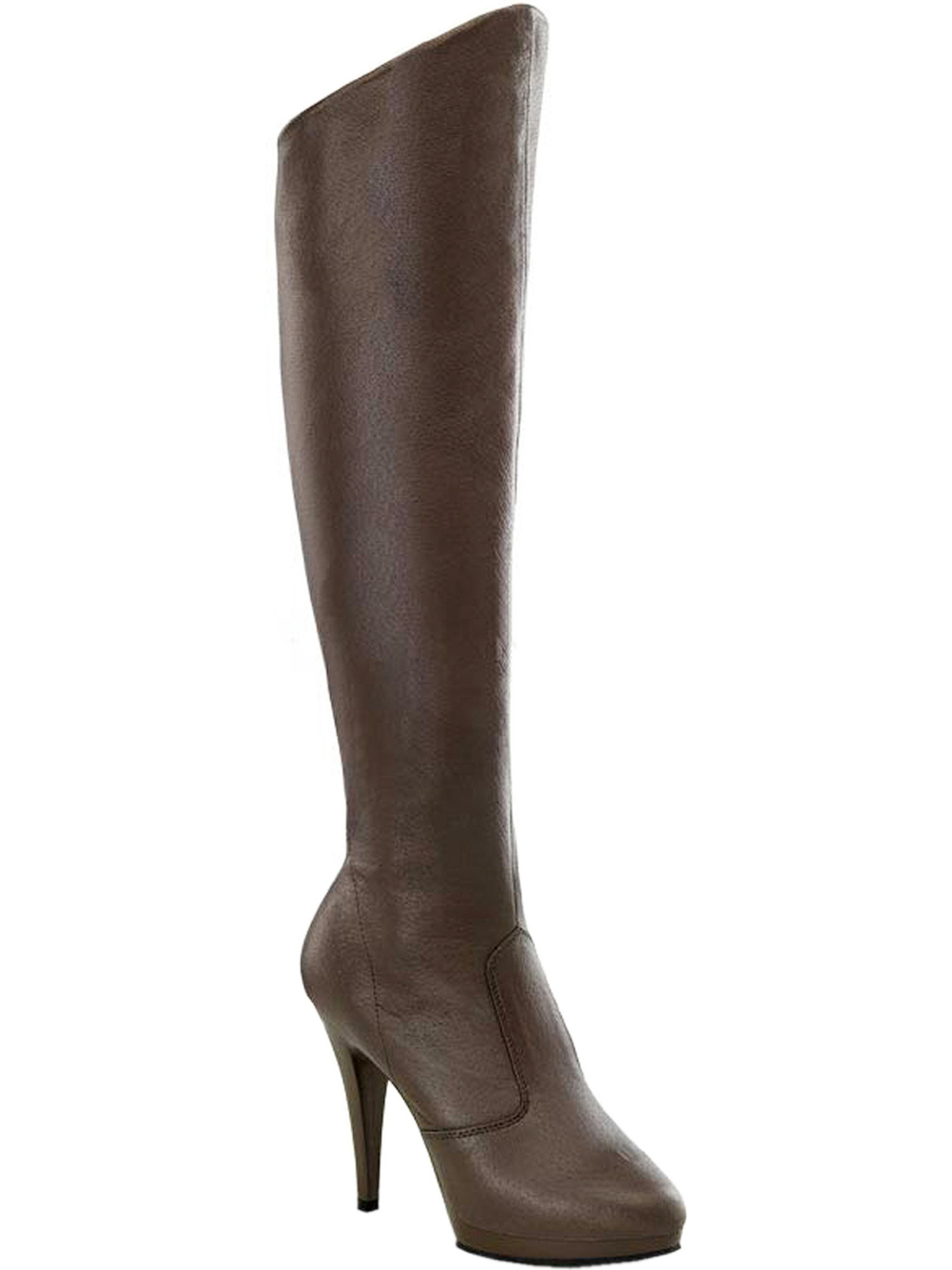 4 1/2 Inch Sexy High Heel Knee High Boots Pig Leather Brown