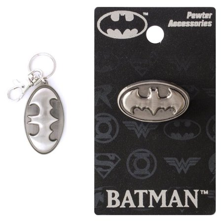 Pewter Keychain Measures (Bundle 2 Items: One (1) Batman Pewter Keychain and One (1) Pewter Lapel Pin )