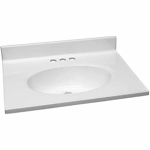 """Design House 551267 Single Bowl Marble Vanity Top, 25"""" x 19"""", Solid White"""