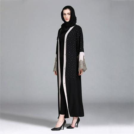 Abaya Muslim Islamic Kaftan Womens Embroidery Maxi Dress Floral Gown Thobe Robe