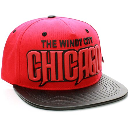 American Cities Chicago Windy City 3-D Rubber Lettering Flat Bill Snap back Cap Hat