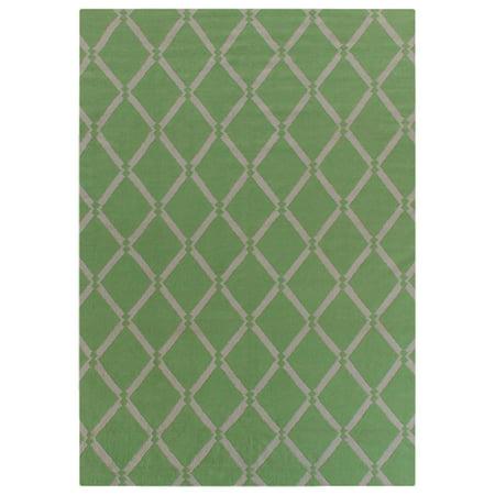 Exquisite Rugs Diamond Dhurrie Light Green New Zealand Wool Rug 5 X 8