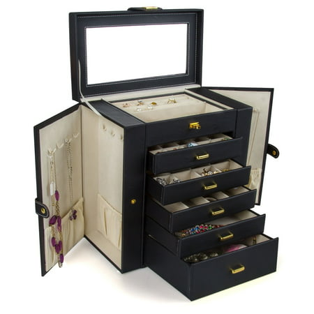 Huge Leather Jewelry Box / Case / Storage LJC-SHD5BK (black) ()