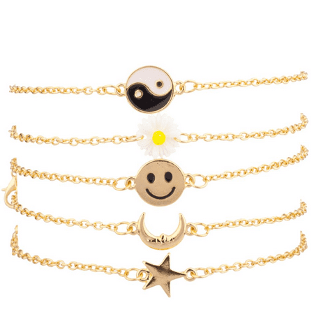 Lux Accessories Yin Yang Sunflower Floral Happy Face Smile Crescent Moon Star BFF Best Friends Arm Candy Bracelet