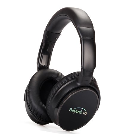 Beyution Active Noise Cancelling Bluetooth Headphones Over-Ear Wireless Headset with Supersoft Protein Leather Earpad Built-in Mic (Carry Case Included) - Black