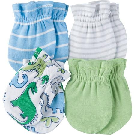 Gerber Newborn Baby Boy Assorted Printed Mittens, 4-Pack