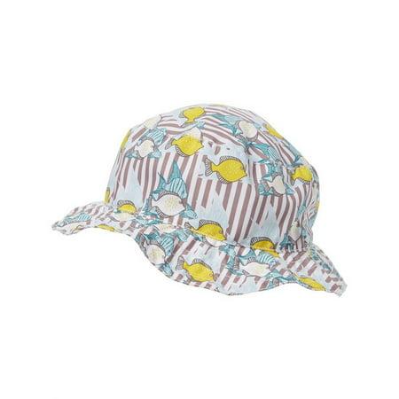 Azul Little Boys Khaki Yellow Lemon Fish Print Reversible Sun Hat for $<!---->