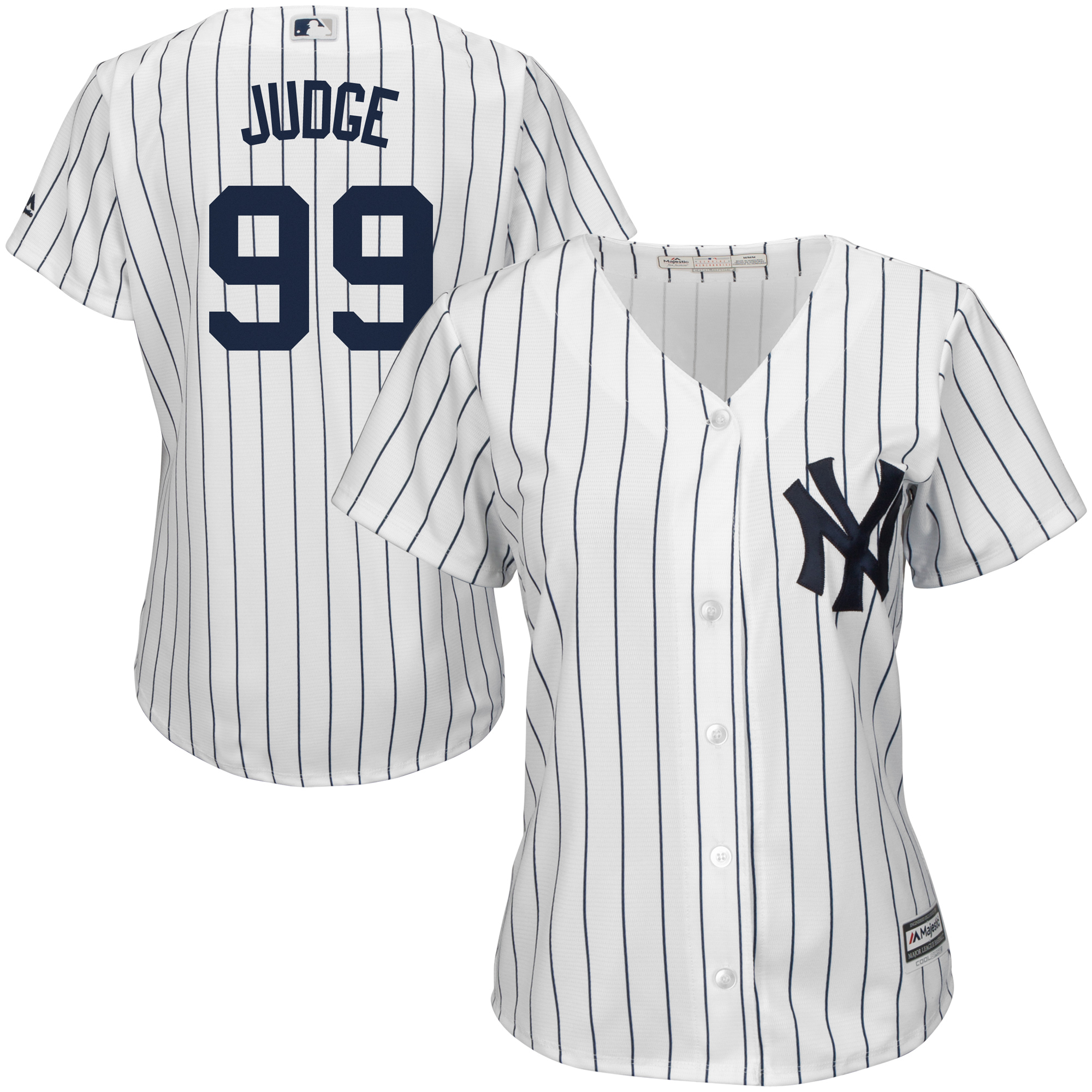 Aaron Judge New York Yankees Majestic Women's Home Cool Base Player Jersey White by MAJESTIC LSG