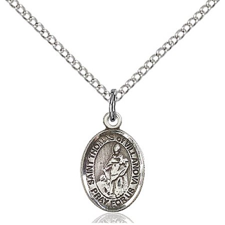 Sterling Silver St. Thomas of Villanova Pendant 1/2 x 1/4 inches with Sterling Silver Lite Curb