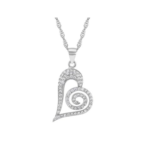 "925 Sterling Silver Clear Cubic Zirconia Heart Pendant Necklace Women 18"""