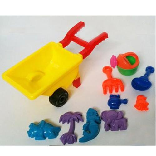 10 pcs Beach Sand Toys Set Trolley Bucket Hand Tools Rake Shovel Sand Molds (Gift Idea) by