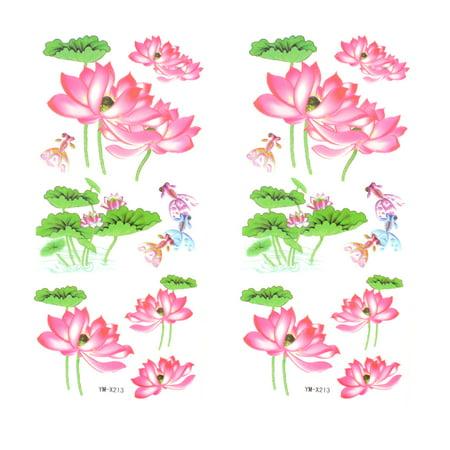 Pink  Flower Pattern Temporary Tattoo Transfer Sticker Decoration 2 Pcs - Pink Tattoos