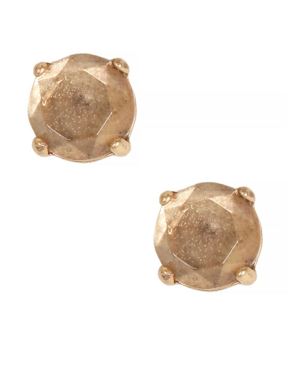 Goldtone Rock Crystal Stud Earrings