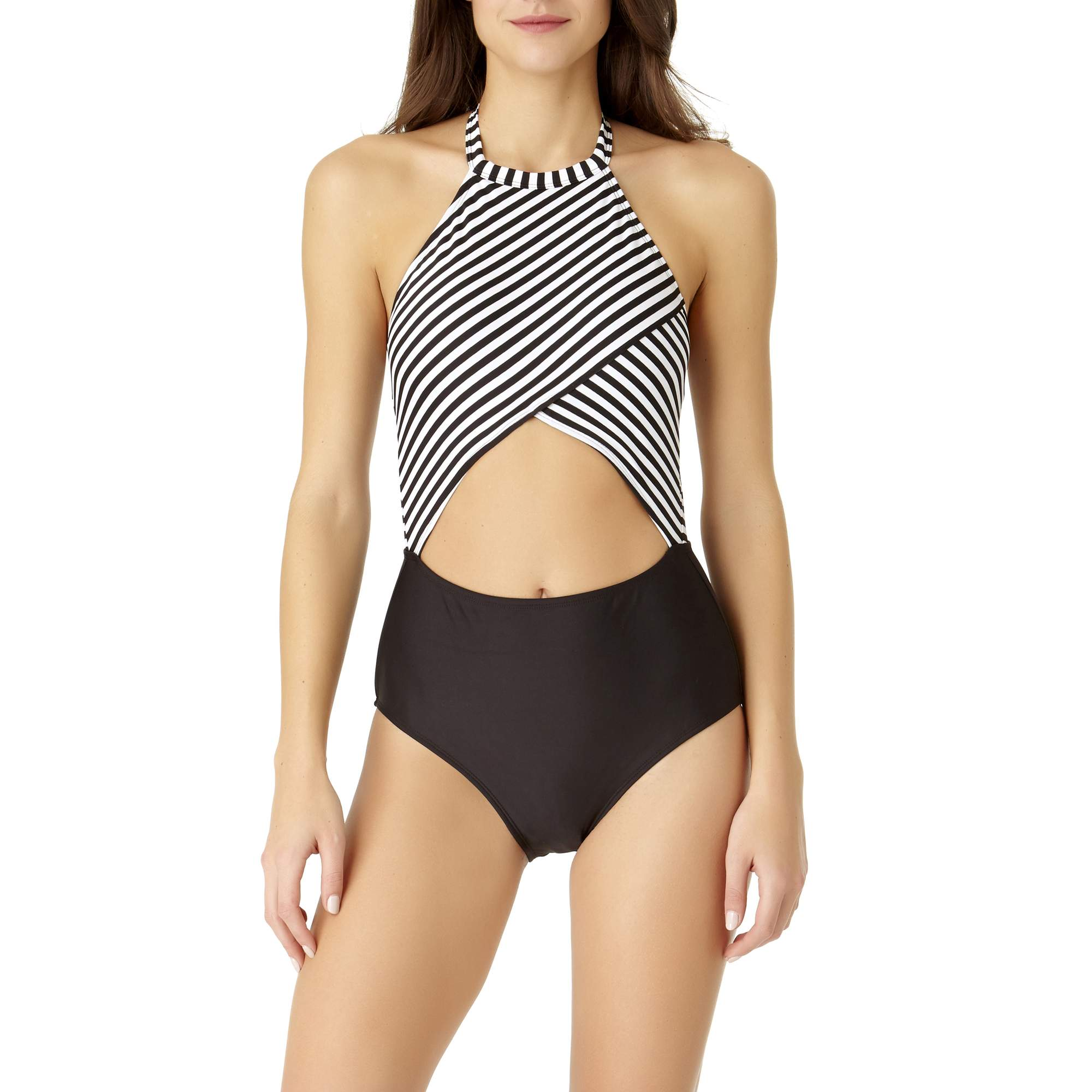 No Boundaries Juniors' Retro Stripe One-Piece Swimsuit