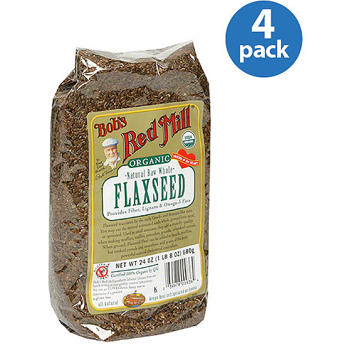 Bob's Red Mill Organic Natural Raw Whole Flaxseed, 24 oz, (Pack of 4)