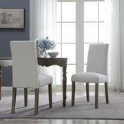BELLEZE Set of (2) Dining Chairs Linen Armless Nailhead Trim Accent Elegant Side Chair Wooden Leg, Beige