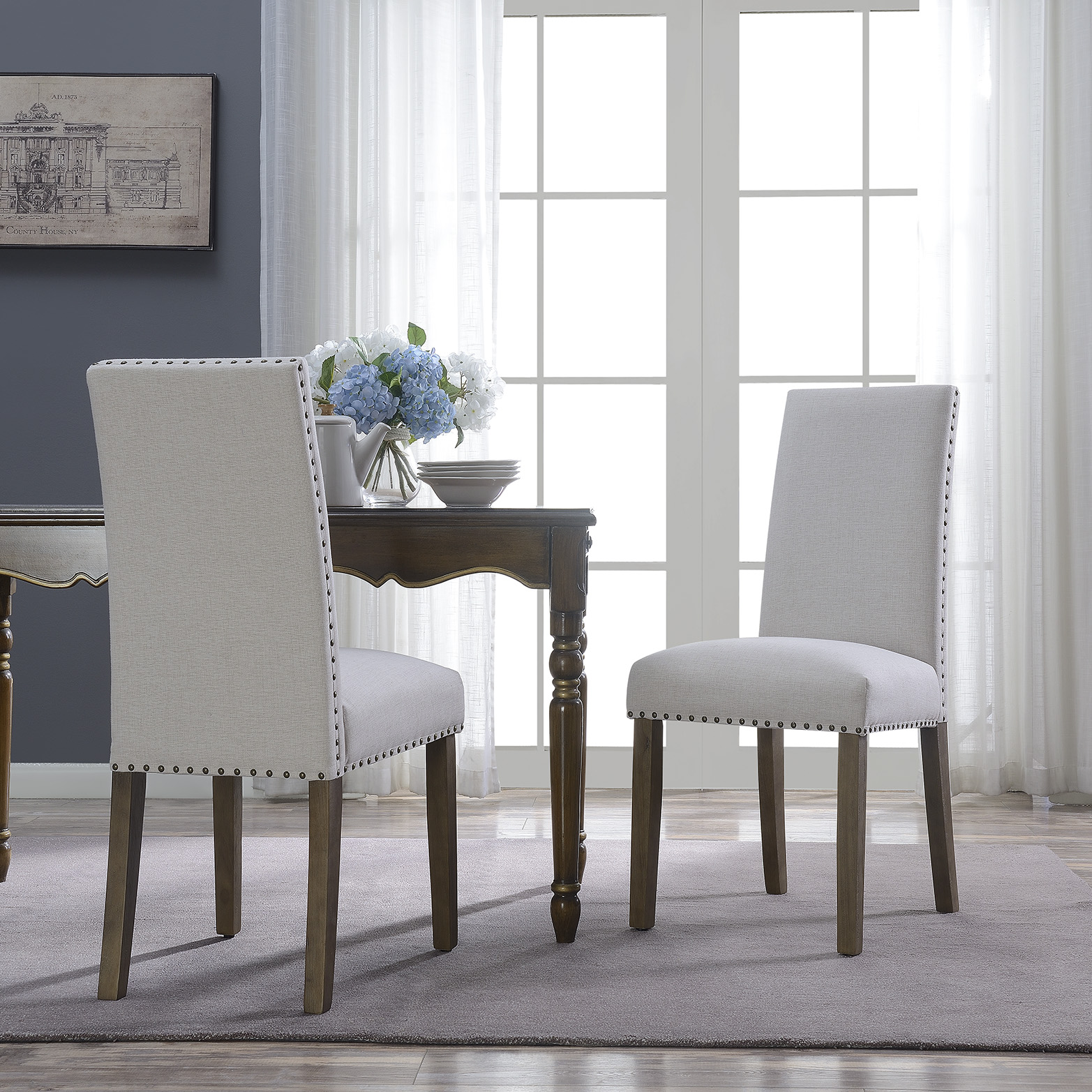 BELLEZE Set of (2) Dining Chairs Linen Armless Nailhead Trim Accent Elegant Side Chair Wooden Leg, Beige