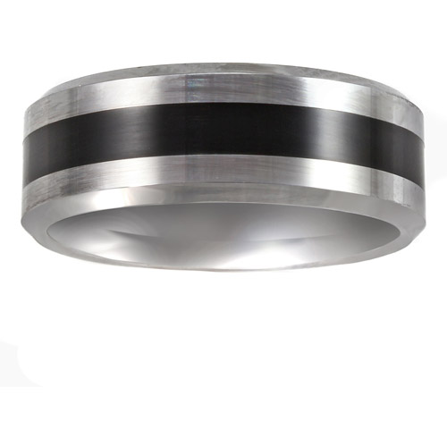 Men's Tungsten and Resin Beveled Edge Ring, 8mm