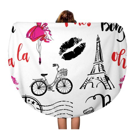 POGLIP 60 inch Round Beach Towel Blanket Bonjour Paris Pattern Original Calligraphic Fonts Sketch Eiffel Tower Travel Circle Circular Towels Mat Tapestry Beach Throw - image 1 of 2