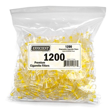 Efficient Cigarette Filters Bulk Economy Pack (Total 1200 Filters), In a convenient resealable (Best Disposable Cigarette Filters)