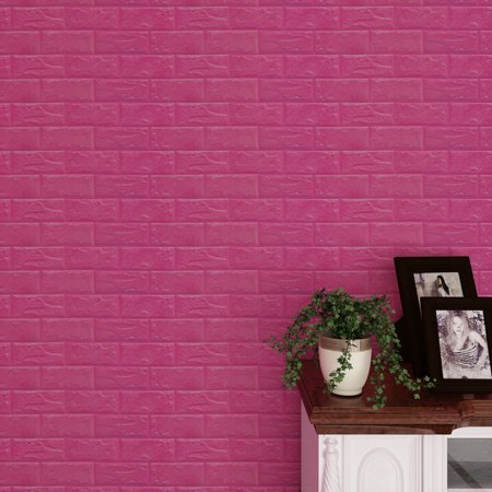 New PE Foam 3D Wallpaper DIY Wall Stickers Wall Decor Embossed Brick Stone HOT