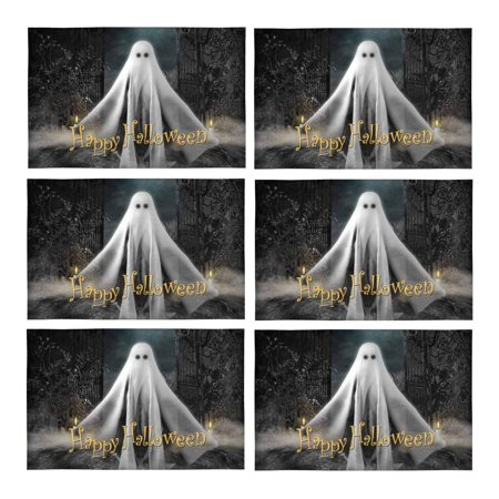 MKHERT 3D Ghost Hovering Under Full Moon Halloween Concept Placemats Table Mats for Dining Room Kitchen Table Decoration 12x18 inch,Set of 6