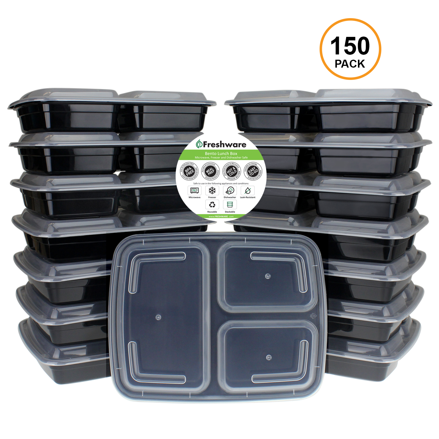 Freshware 150-Pack 3 Compartment Bento Lunch Boxes with Lids - Stackable Reusable Microwave Dishwasher & Freezer Safe - Meal Prep Portion Control 21 Day Fix & Food Storage Containers (32oz), YH-3X150