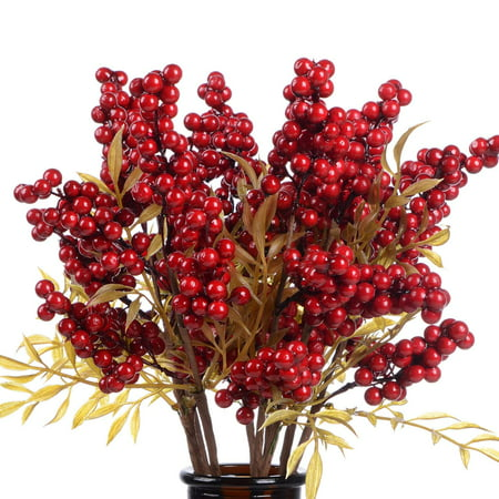 4 Pack Artificial Red Berry Stems for Christmas Tree Decorations, Crafts, Holiday and Home Decor, 18 Inches Burgundy Berry Floral ()