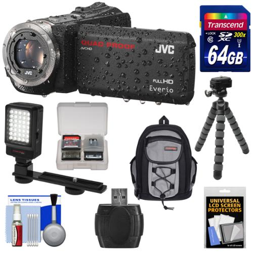 JVC Everio GZ-R320 Quad Proof Full HD Digital Video Camera Camcorder (Black) with 64GB Card + Backpack Case + Flex Tripod + LED Light + Kit