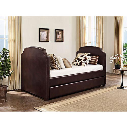 maison daybed and trundle vintage espresso faux leather - Daybeds With Trundles