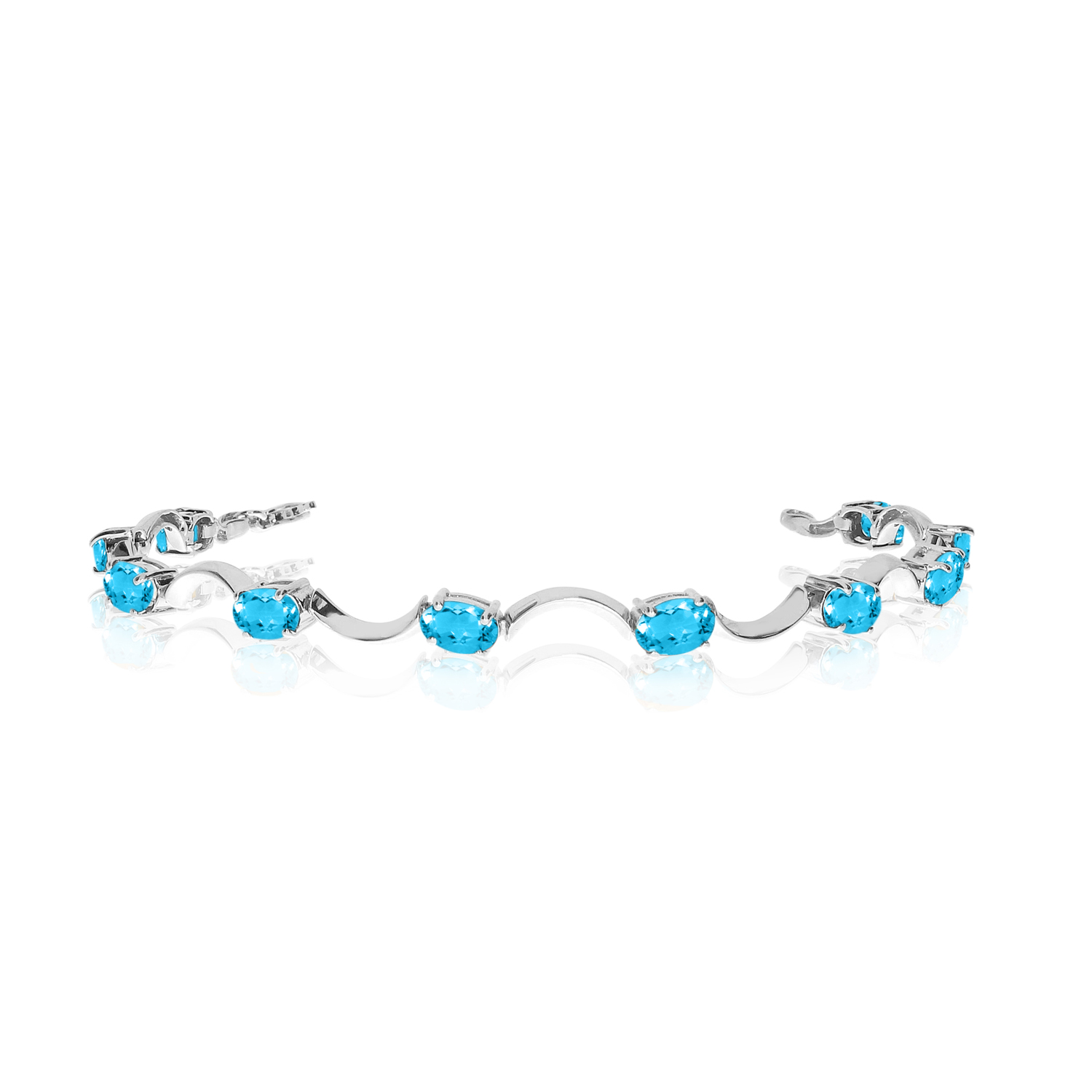 10K White Gold Oval Blue Topaz Curved Bar Bracelet by
