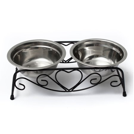 Stainless Steel Pets Small Dog & Cat Double Diner Water Feeder with Bowls Retro Iron Stand SPECIAL TODAY