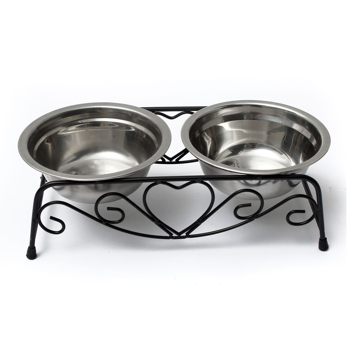 Stainless Steel Pets Small Dog & Cat Double Diner Water Feeder with Bowls Retro Iron Stand SPECIAL TODAY !