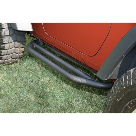 Rugged Ridge 11504.13 Nerf Bar RRC Side Armor With Step Pads; 2 Inch Round Bent; Black Textured Powder Coated; Steel; Without End Caps - image 1 of 2