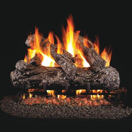 Peterson Real Fyre 24-inch Rustic Oak Gas Log Set With Vented Propane G45 Burner - Manual Safety Pilot